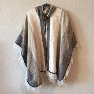 90s Vintage Rabbit Hair Boho Poncho Sweater
